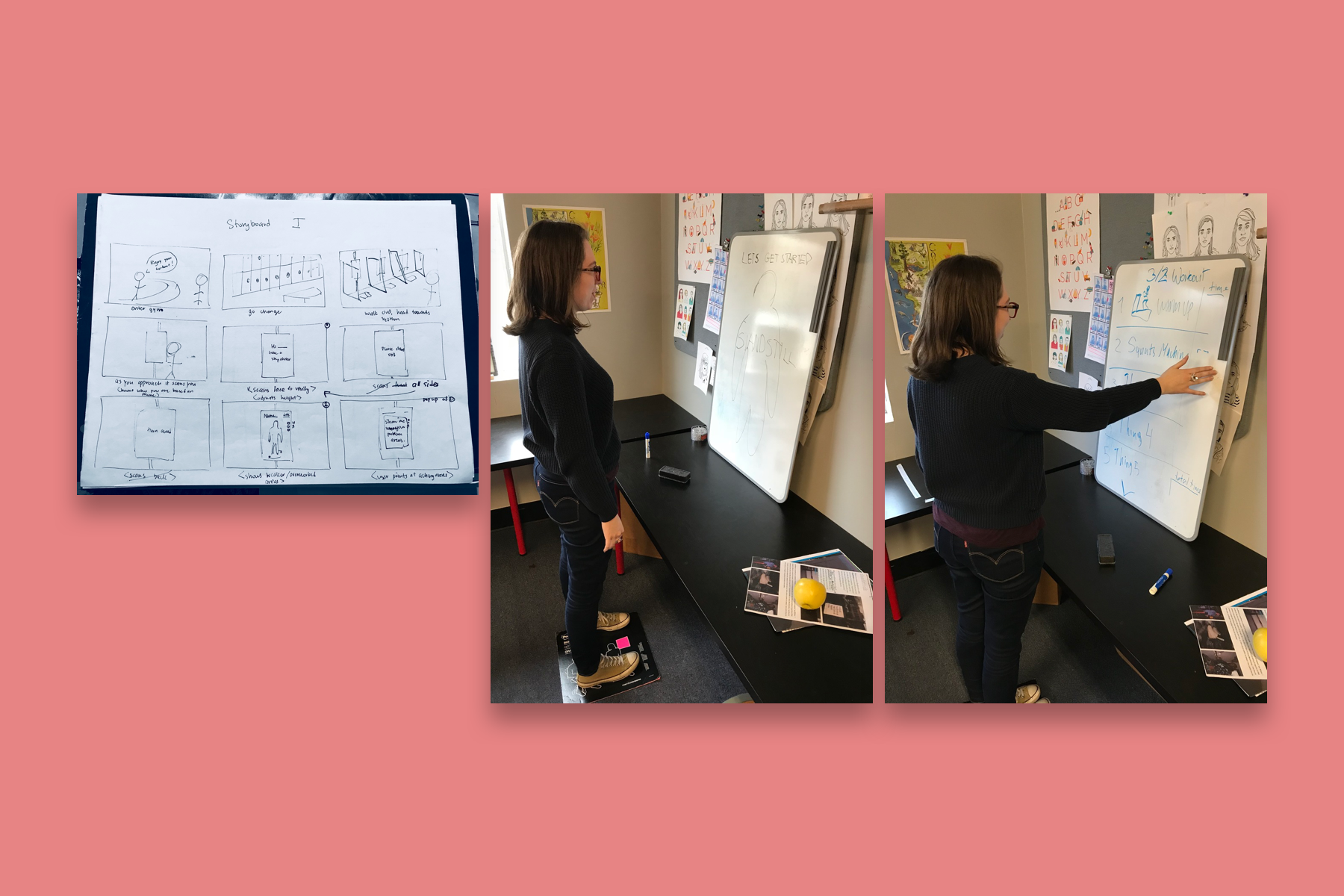 Eileen Ewing helping her classmate Maryana Kuznetsova prototype out her interactive gym interface based on her storyboarding.