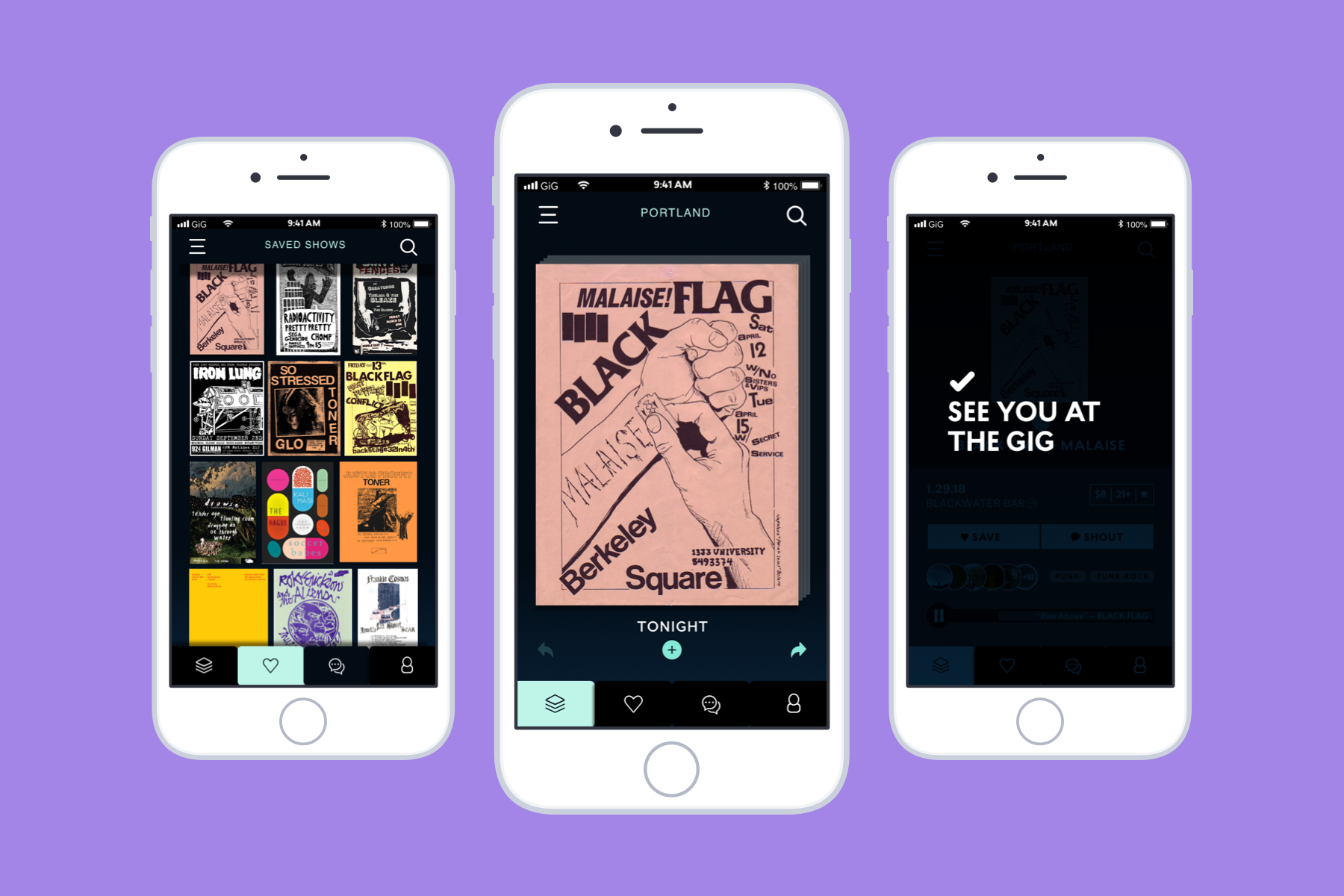 Designed around her frustration of using Facebook for learning about music shows, Laken Wright's app GIG allows users to learn and interact with upcoming shows while still preserving the beauty of gig posters.
