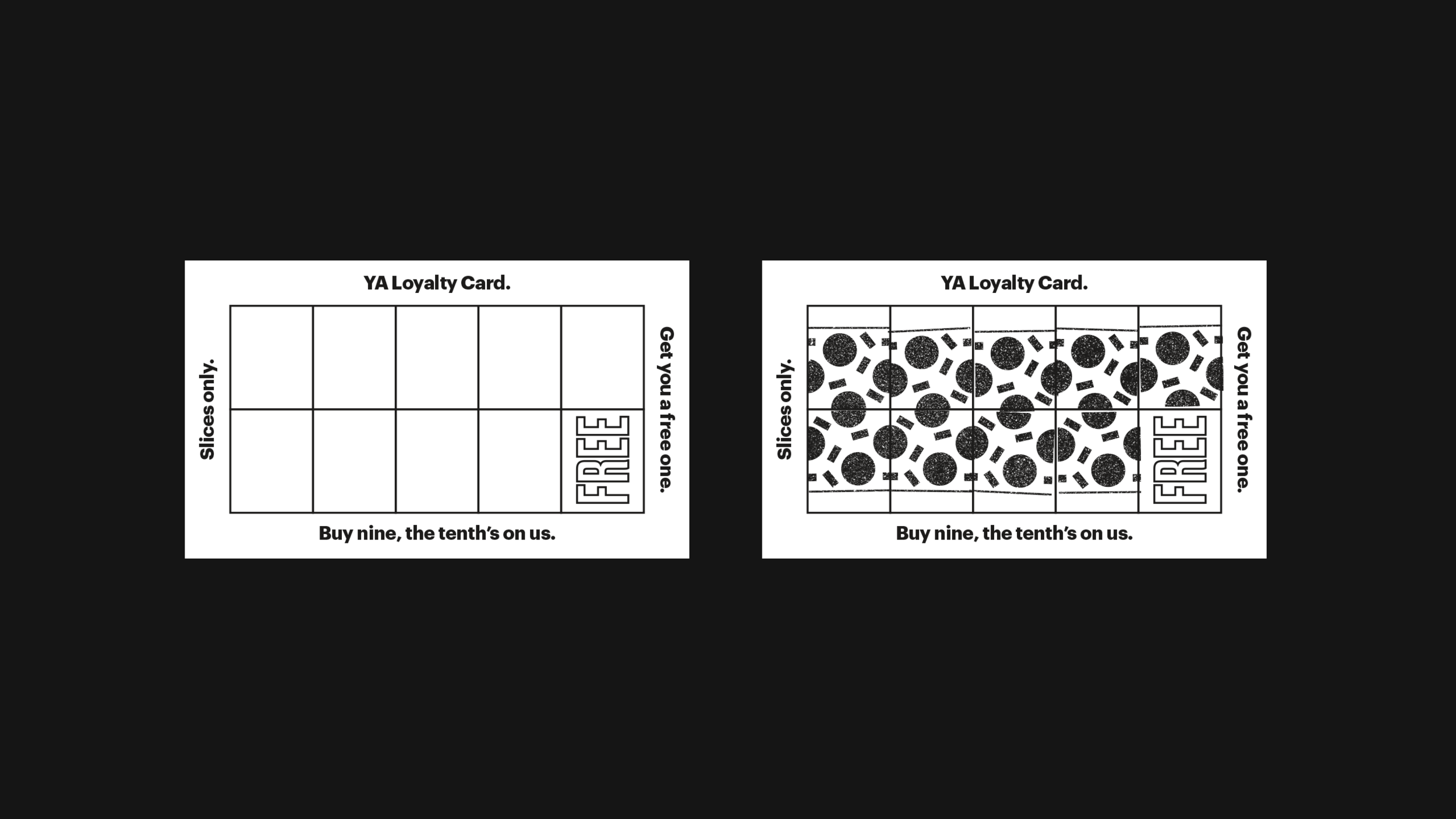 YA loyalty cards blank and filled.