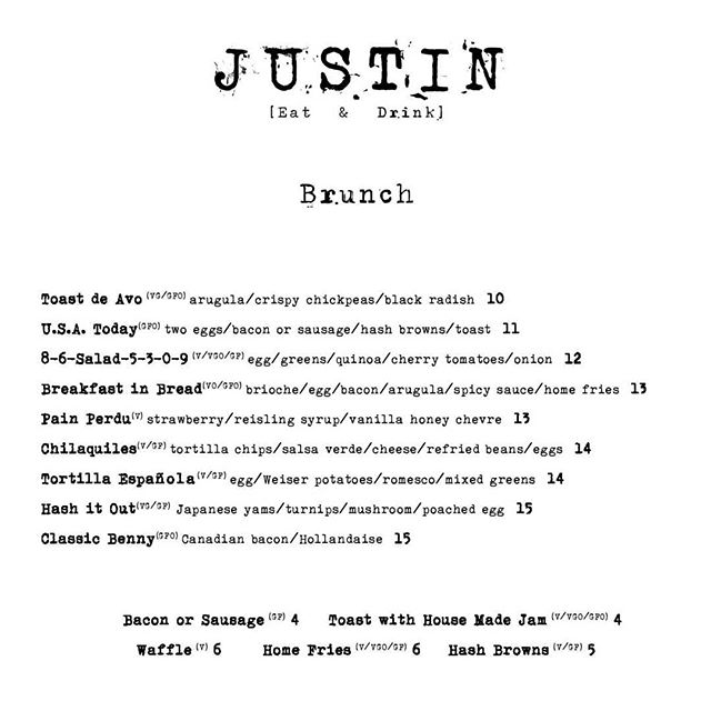 Brunch much? This is happening (and then some) from 10am-2pm tomorrow! Have you made your reservation yet? 😊 (Menu subject to change) #EasterBrunch #JustinStyle