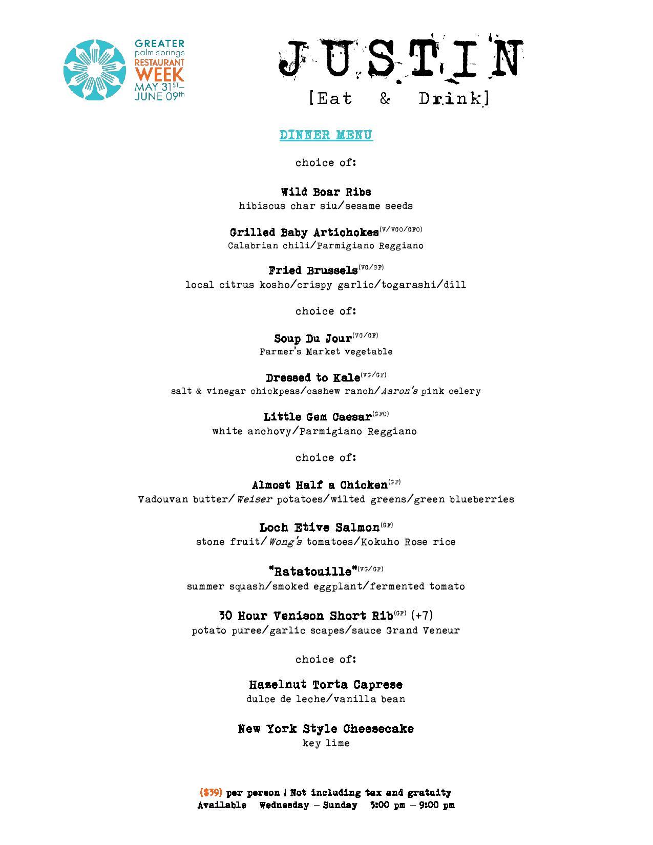 (menu subject to change)