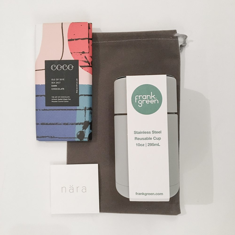Just For You £31.00 - Just For You, was a gift designed for that person who needs reminding how cherished and how loved they are. This charming gift consists of COCO Chocolatier Isle of Skye Sea Salt and Dark vegan chocolate and a Frank Green reusable cup, presented in a keepsake pouch.