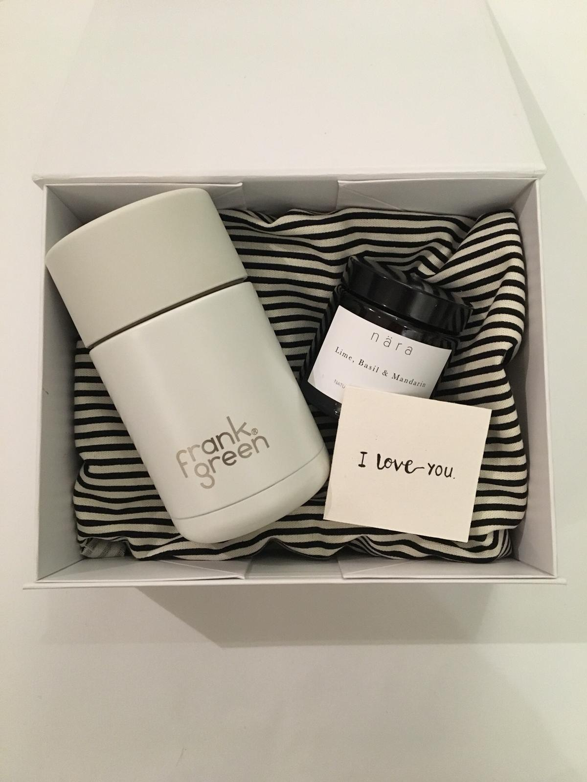Get Away £43.00 - For the one who needs to Get Away, help your Valentine escape the mundane with this romantic gift. With a Frank Green cup and Pharmacy Candle, presented in a classic nära gift box and with the option to add a personal message.