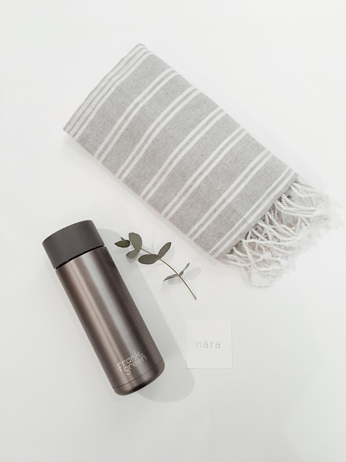 On The Go £44.50 - On The Go is a thoughtful gift for all those who are quite literally on the go. With a beautiful Frank Green reusable Water Bottle that keeps water cold for up to 10 hours and an elegant super absorbing, fast drying peshtemal towel. This gift is perfect for anyone living a fast paced life. We think it would be brilliant for anyone who loves the gym, camping, festivals and travelling.