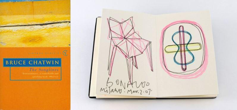 좌) 처음 몰스킨이 언급된 브루스 채트윈의 작품 '더 송라인즈The Songlines' 우) 유명 디자이너 카림 라시드Karim Rashid의 디자인 노트