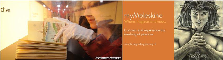 좌) 몰스킨 전시회에서 제품(작품)을 관람하는 관객 우) 매니아들이 작품을 공유하는 myMolekine 웹페이지