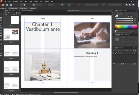 Setting up a book in Affinity Publisher