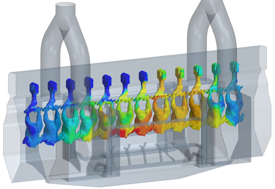 Multiphase Simulation of a Steam Decontamination Process  geometry computational fluid dynamics CFD temperature field results