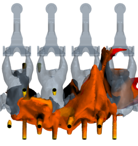 Multiphase Simulation of a Steam Decontamination Process  geometry computational fluid dynamics CFD temperature field iso contour results