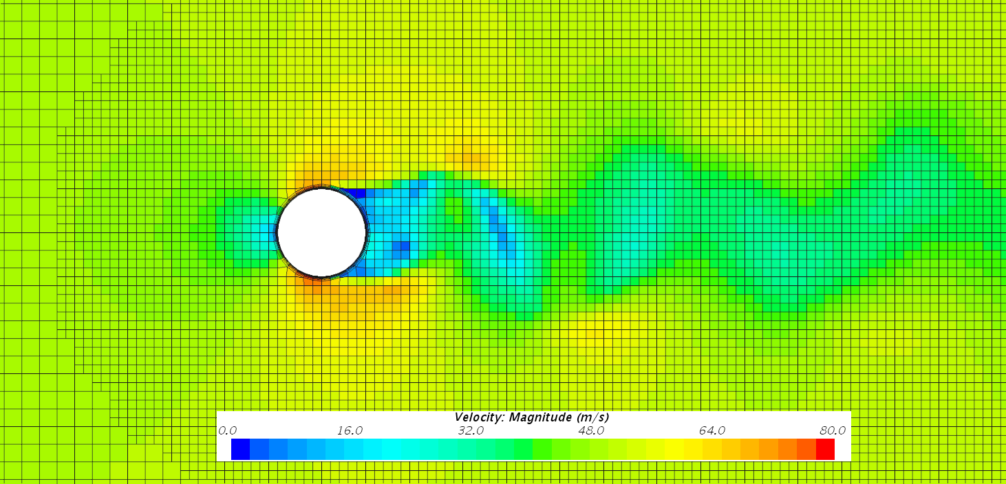 Velocity field for flow around a cylinder with computational Fluid Dynamic (CFD)