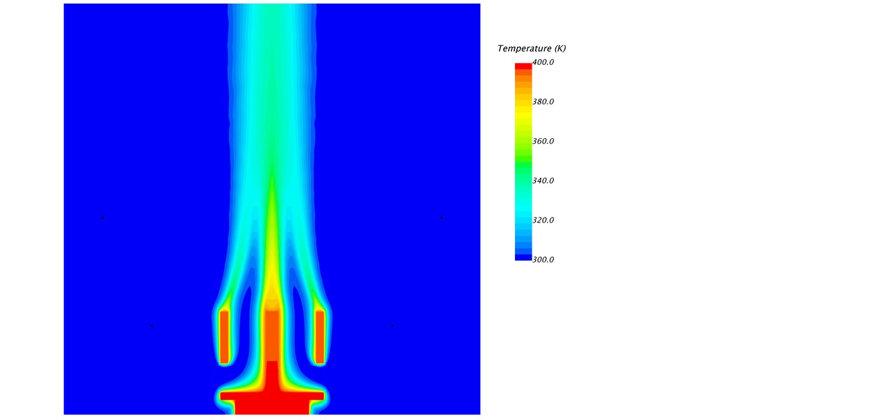 The temperature plotted in the in the cross section plane in the fluid and the solid regions.