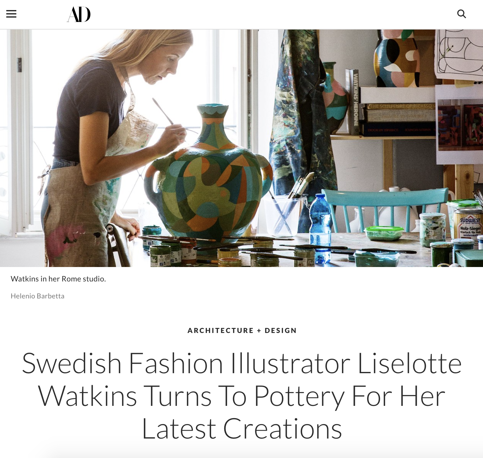 ARCHITECTURAL DIGEST US  https://www.architecturaldigest.com/story/swedish-fashion-illustrator-liselotte-watkins-turns-to-pottery-for-her-latest-creations