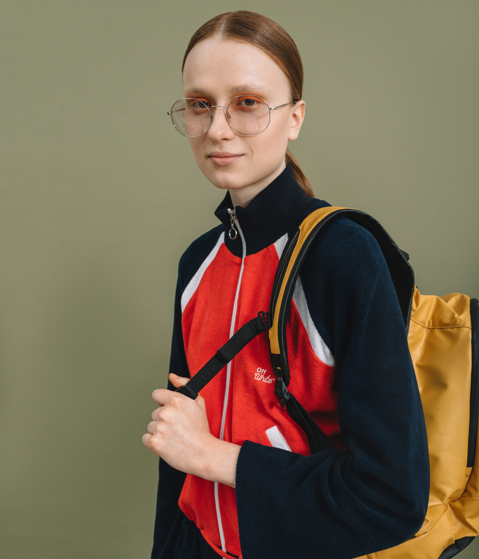 Jumpsuit Off-White,  Glasses Andy Wolf,  Backpack Samsonite