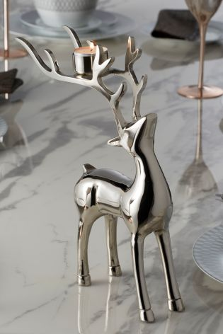 Luxe Chrome Stag Tea Light Holder