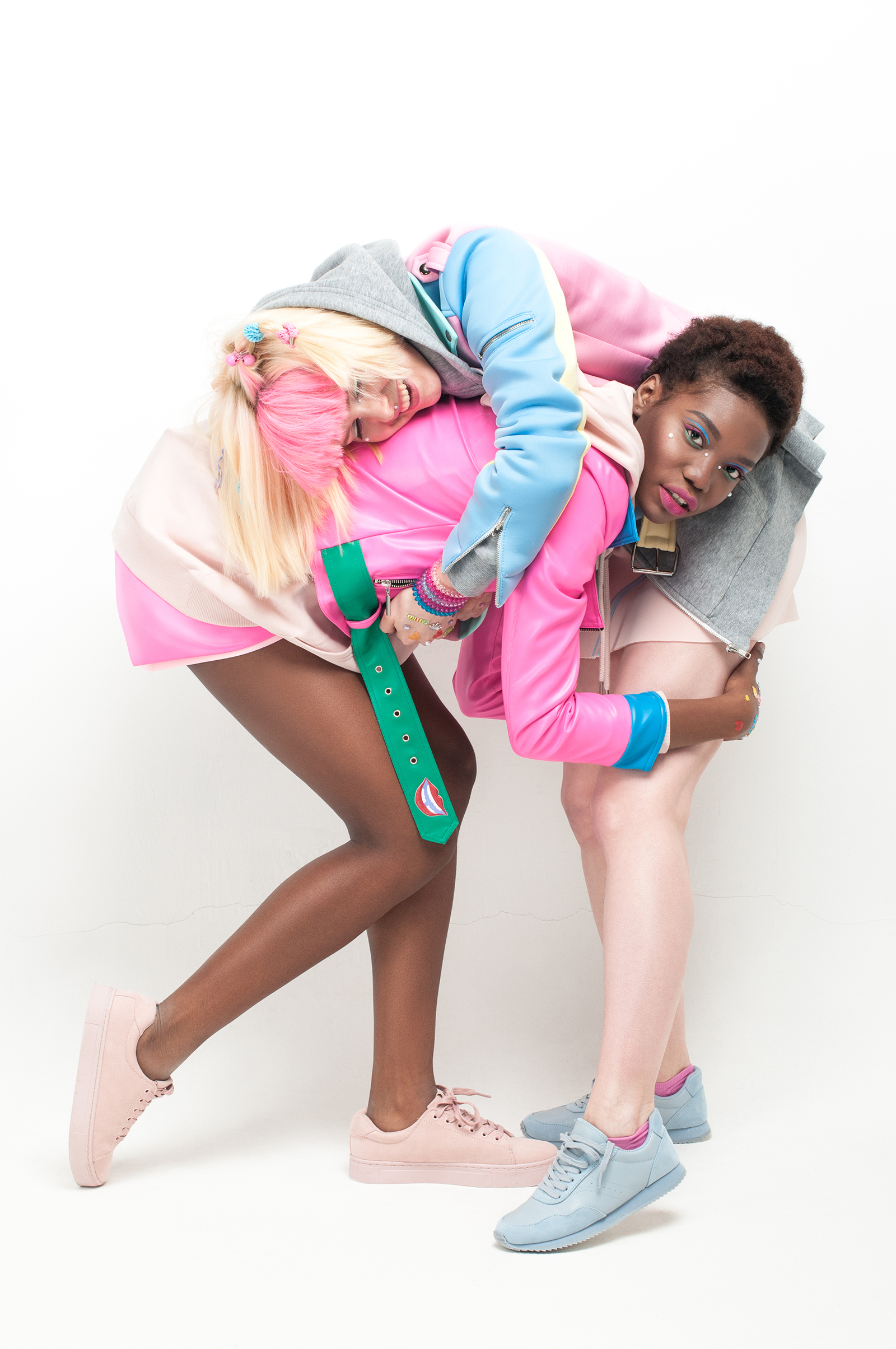 From left to right: Jacket: #LenaGolova  Hoody: Monki Skirt: #LenaGolova Choker: Diva Pink sneakers: H&M Jacket: #LenaGolova Hoody: H&M Skirt: #LenaGolova Choker: Accessorize and #LenaGolova Socks: Nike Blue sneakers: H&M