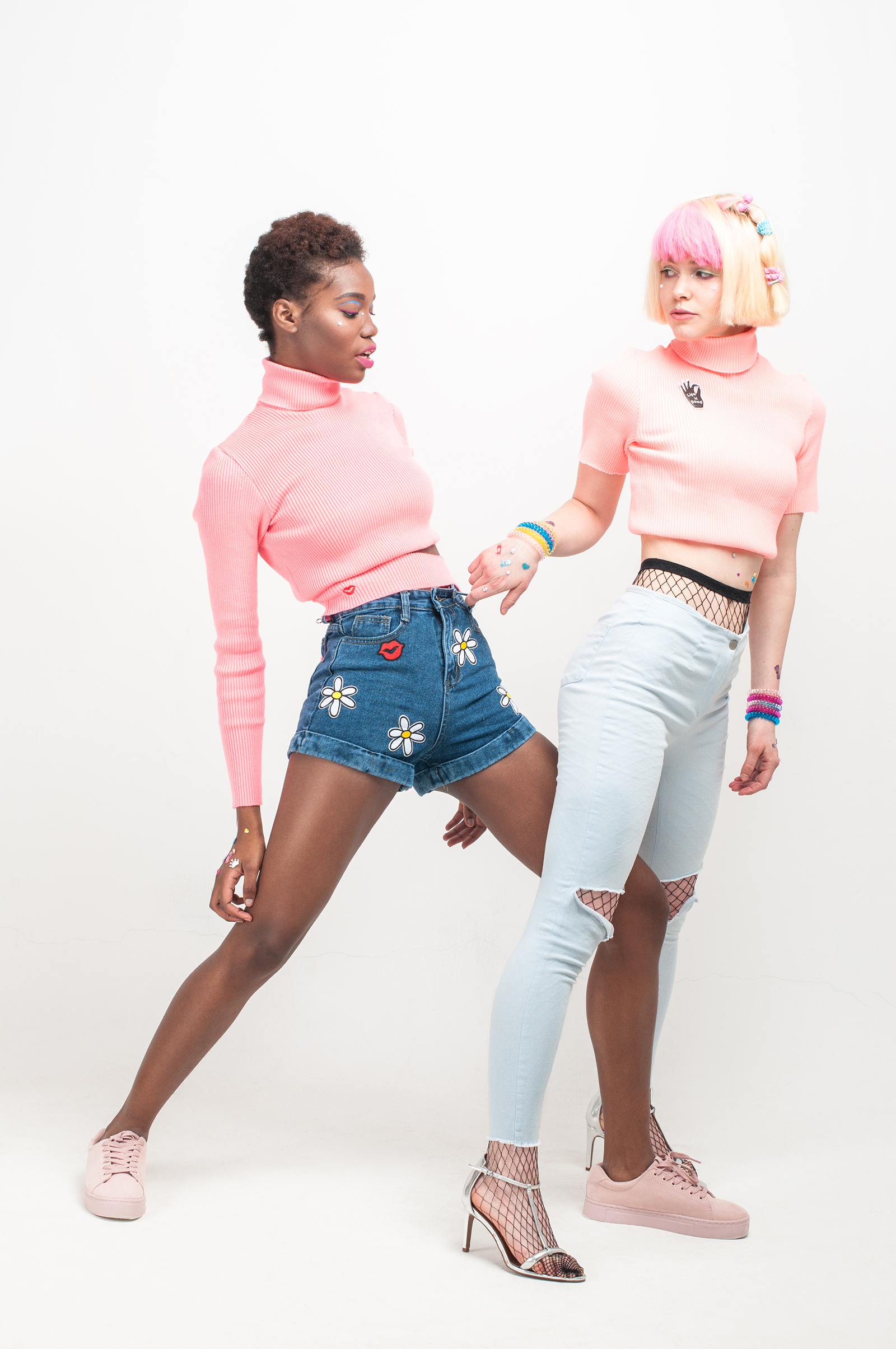 From left to right: Sweater: #LenaGolova Denim shorts: #LenaGolova Pink sneakers: H&M Sweater: #LenaGolova Jeans: Monki Tights: Calzedonia Shoes: H&M