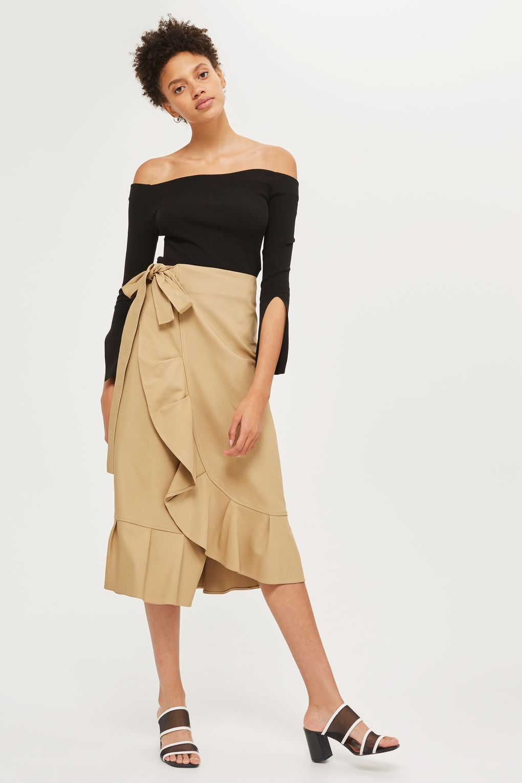 Cotton frill midi skirt, £10,   Topshop