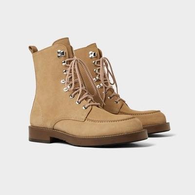 Beige leather boots, £89.99,   ZARA