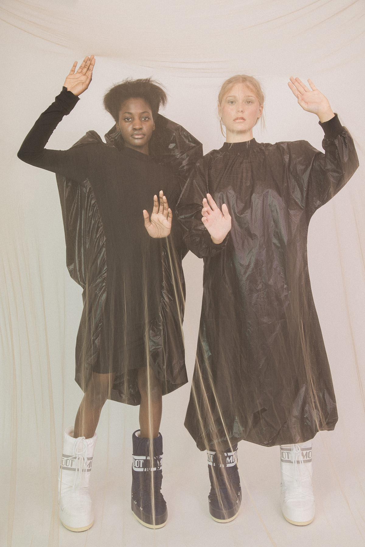 Black dresses by 1683ATELIER  Boots by MOONBOOT