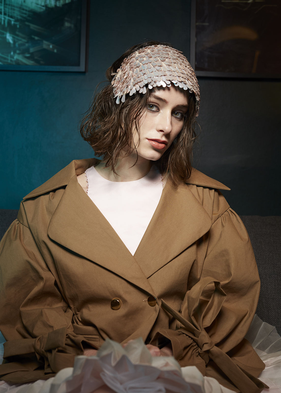 Jacket by Naya Rea  Dress by Tianyi Li  Headpiece by Merve Bayindir