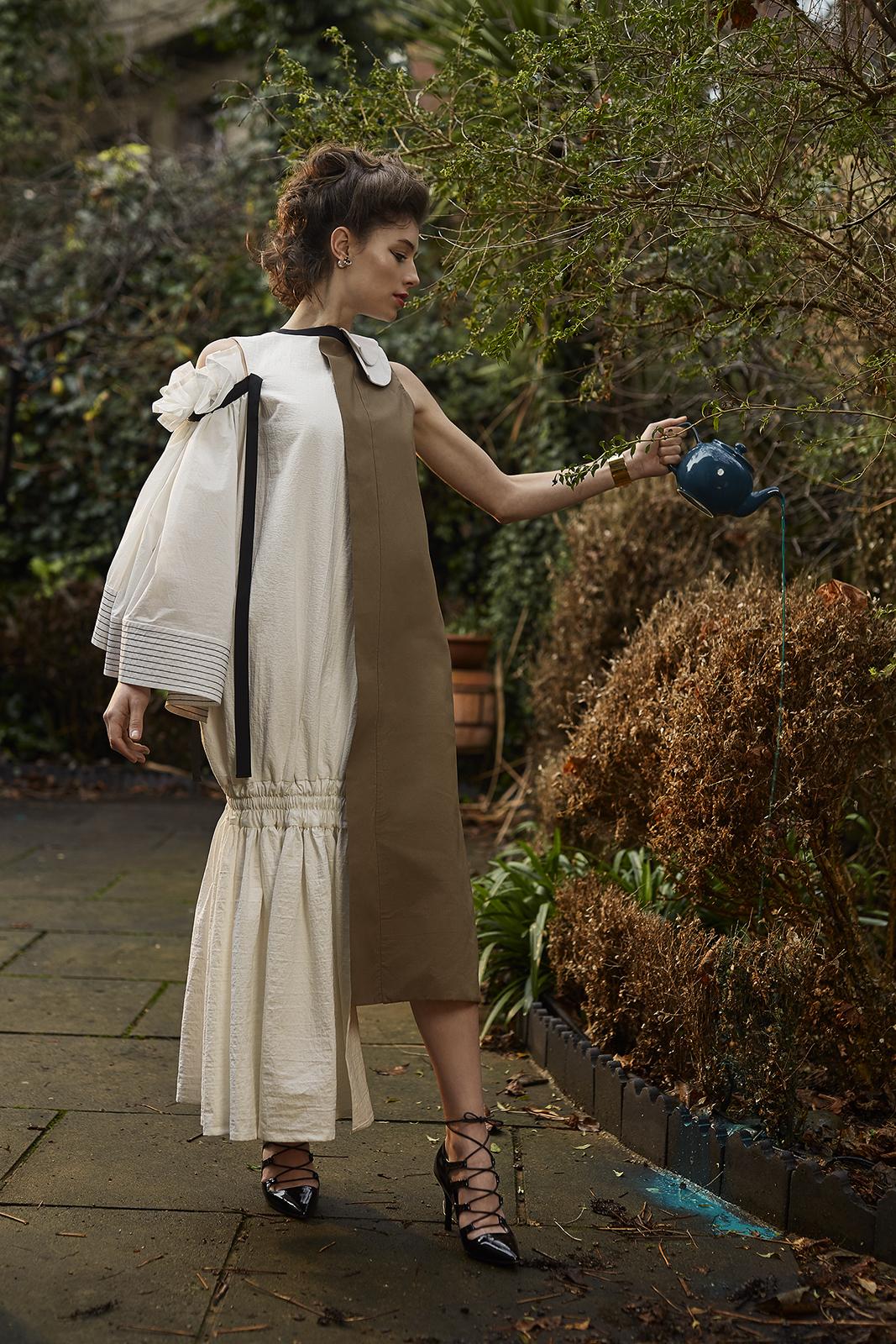 Dress by Ashley Isham  Earrings & bracelet by MAYU  Black tie heels by Malan Breton