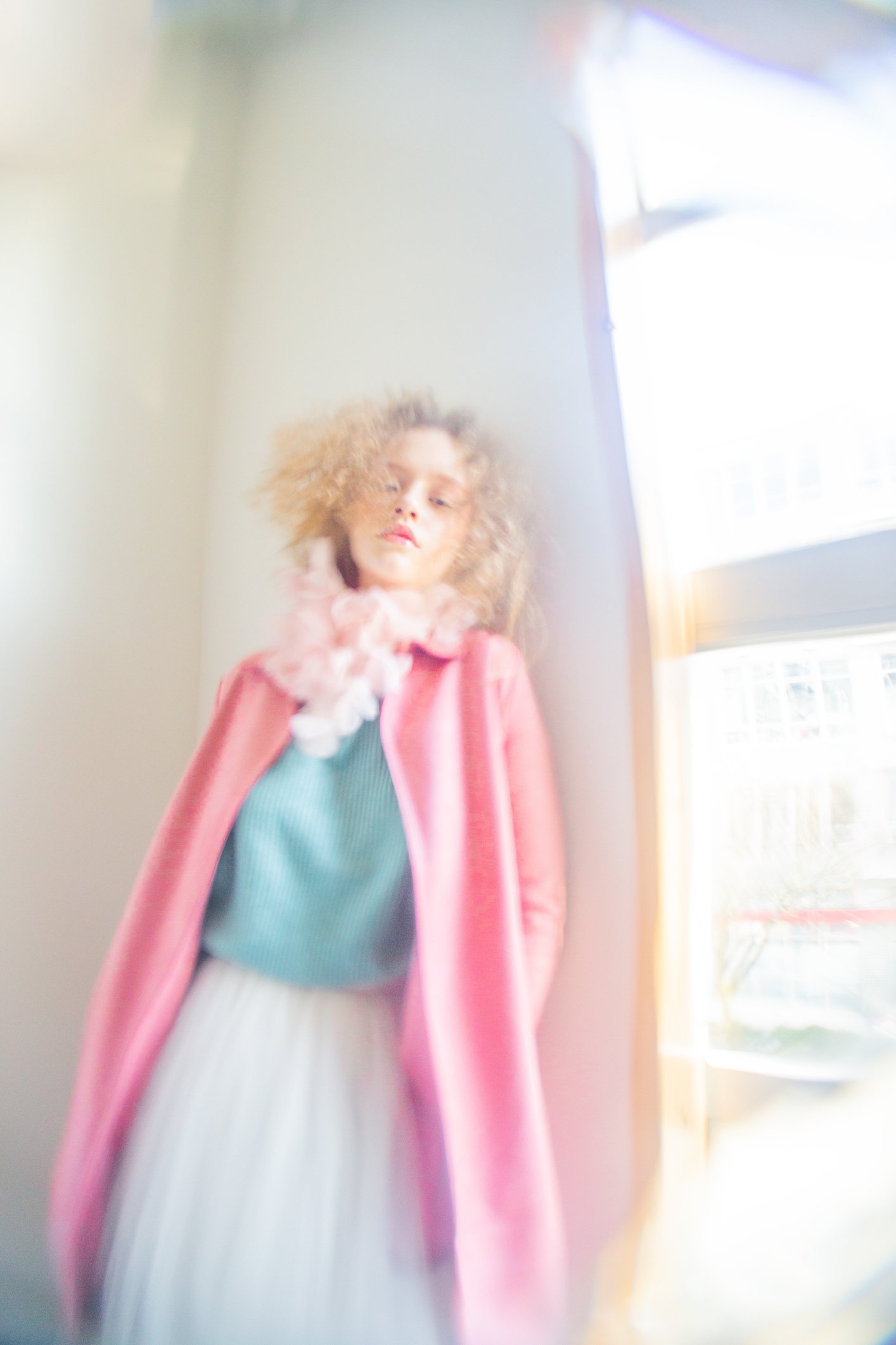 pink coat  Zara   blue sweater  Frank and Oak   scarf  No. 107   tulle skirt  Manya Sibal