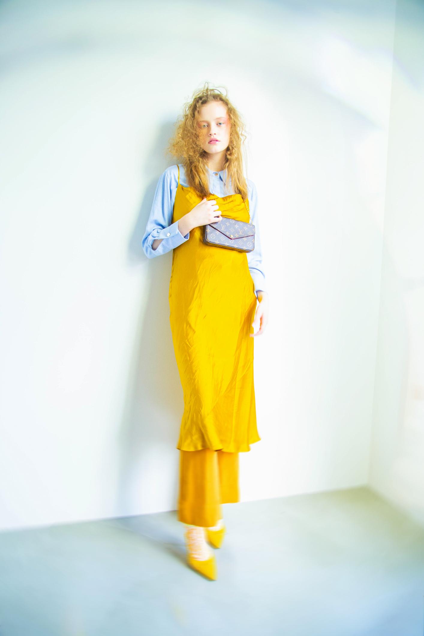 shirt  Frank and Oak   dress, trousers, shoes  Zara   bag  Louis Vuitton   socks  American Eagle