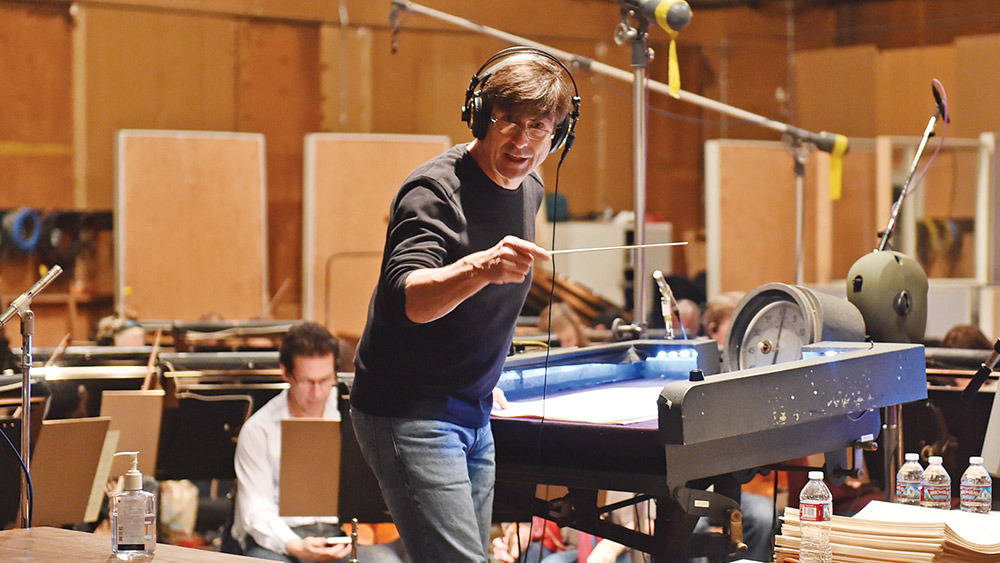 Composer Thomas Newman at a scoring session