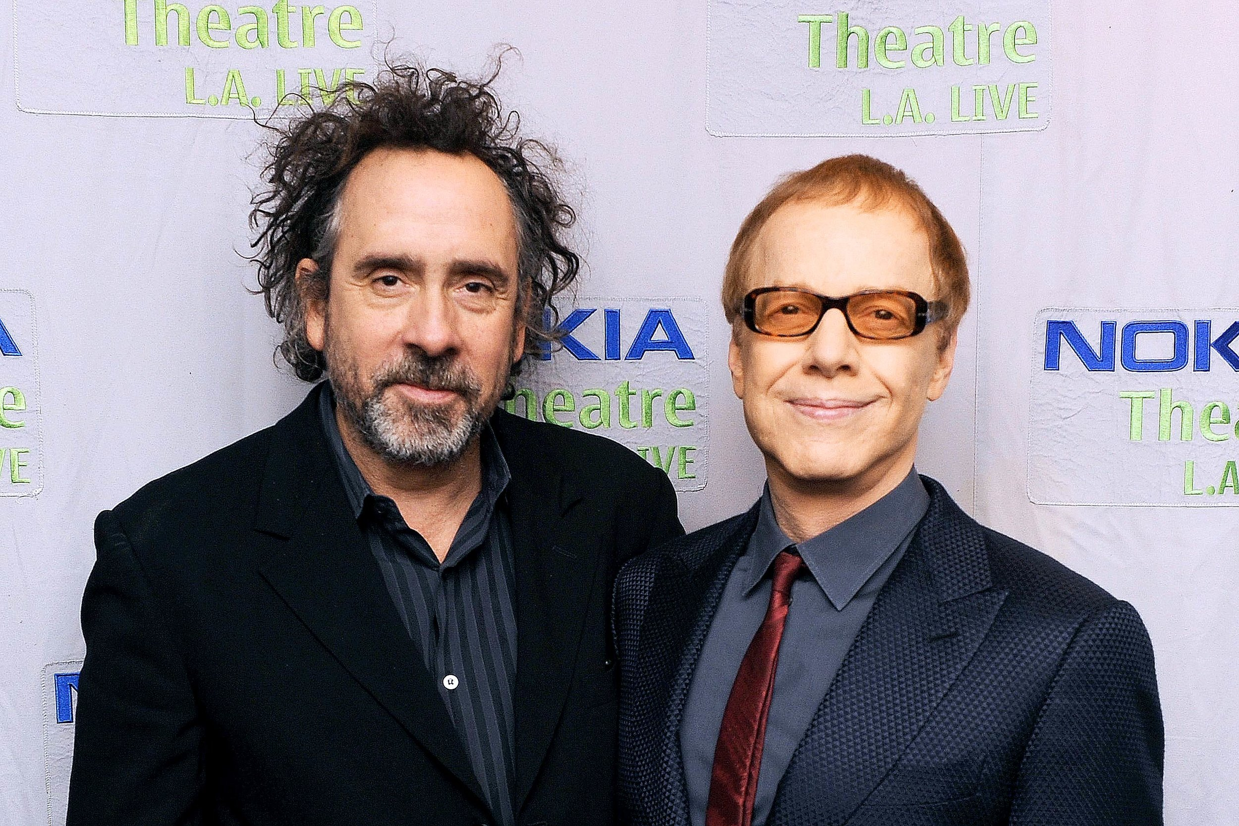 Director Tim Burton (L), and Danny Elfman (R)