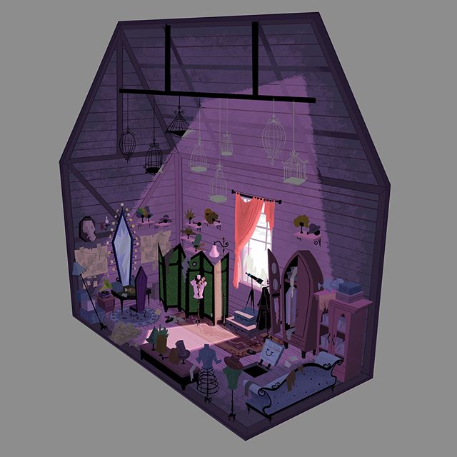 Cutaway of Count Olaf's private room where he has all of his disguises and schemes  #art #illustration #visualdevelopment #background #artistsoninstagram #artist #propdesign #conceptart