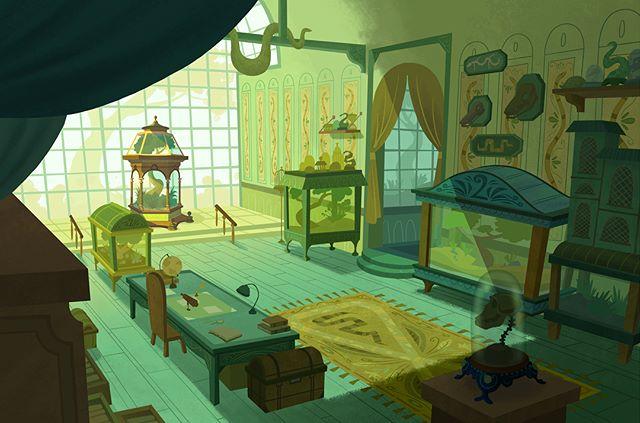 Uncle Monty's Reptile room 🐍  #art #illustration #background #visualdevelopment #artistsoninstagram #conceptart #digitalart #painting