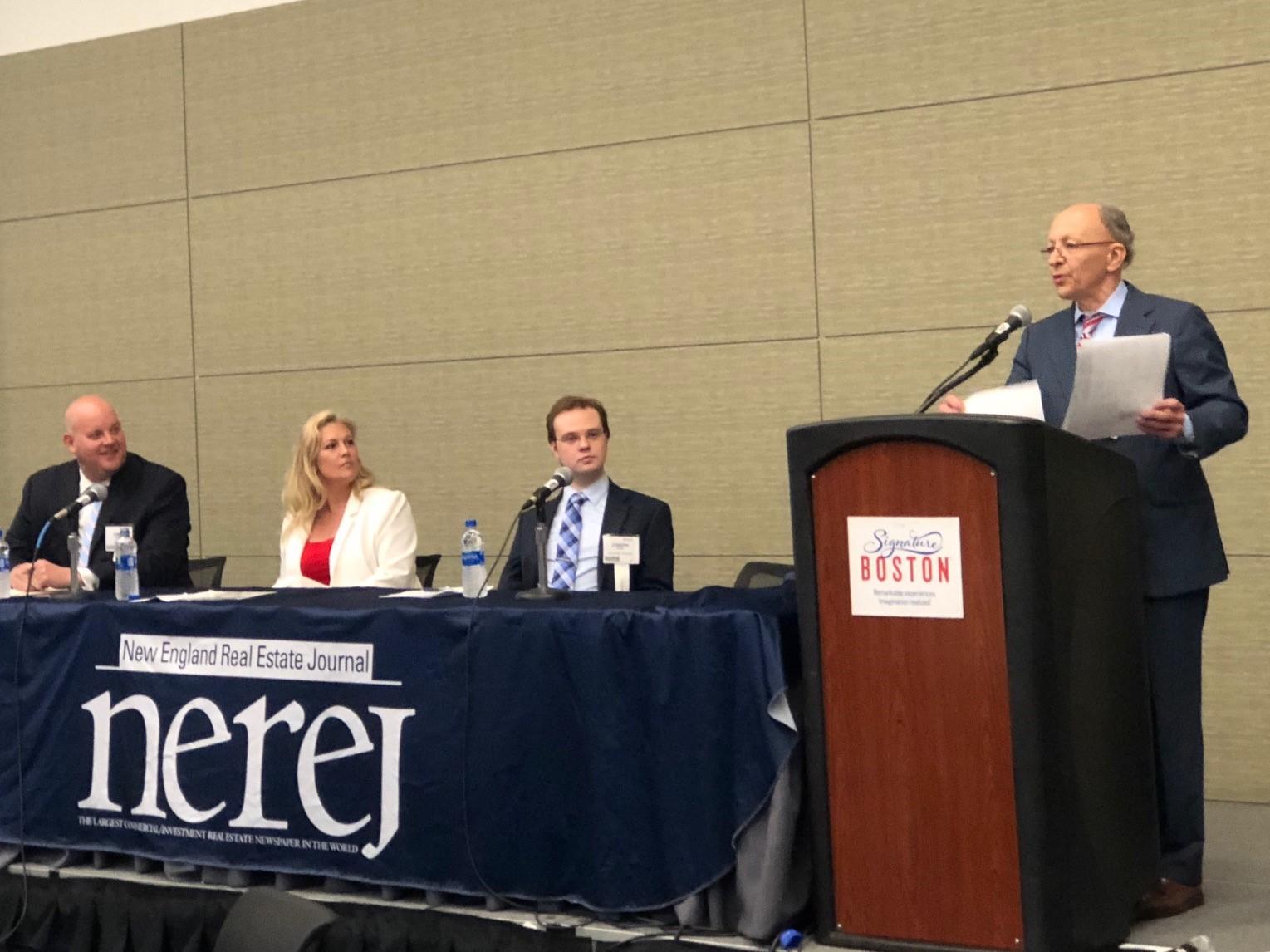 Shown:Greg McGee, LandLease, Deborah Griffin, Nickerson RE, and Joseph Stepp, Licata Risk Advisors - moderating the panel, Frank Licata, Licata Risk Advisors.