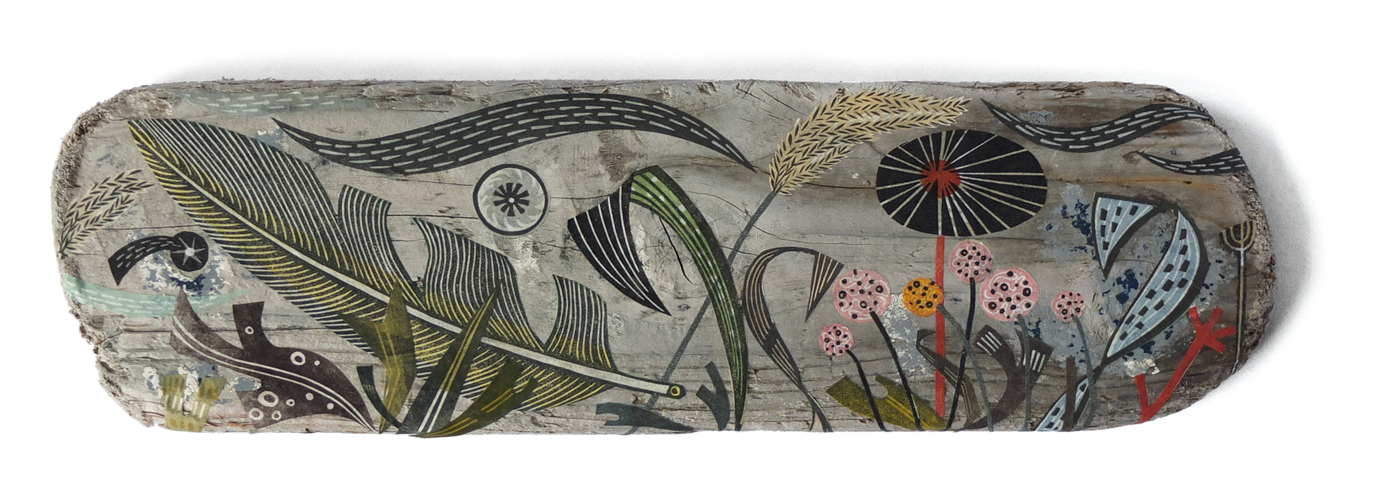 'Findhorn Feather and Thrift' mixed media collage