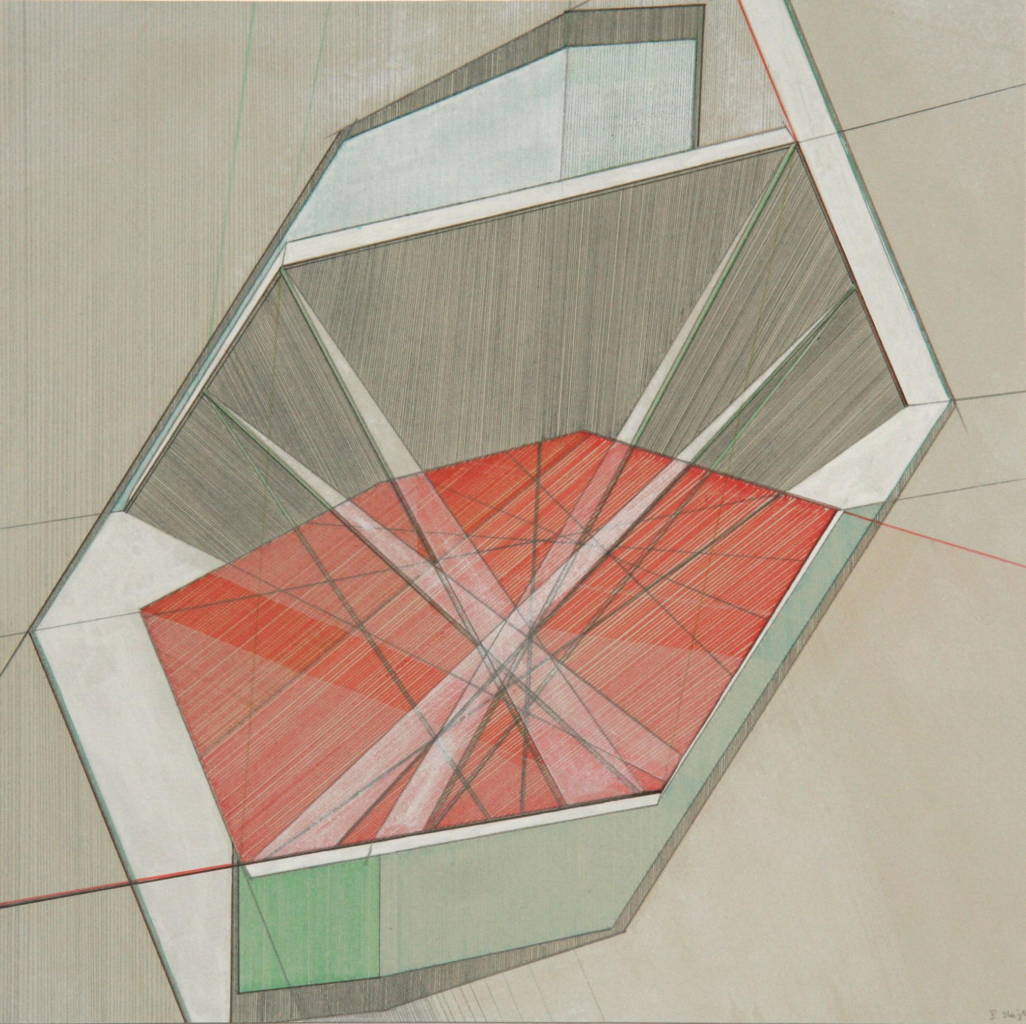 'Revelstoke Dam II' pen, pencil, gouache over lithograph