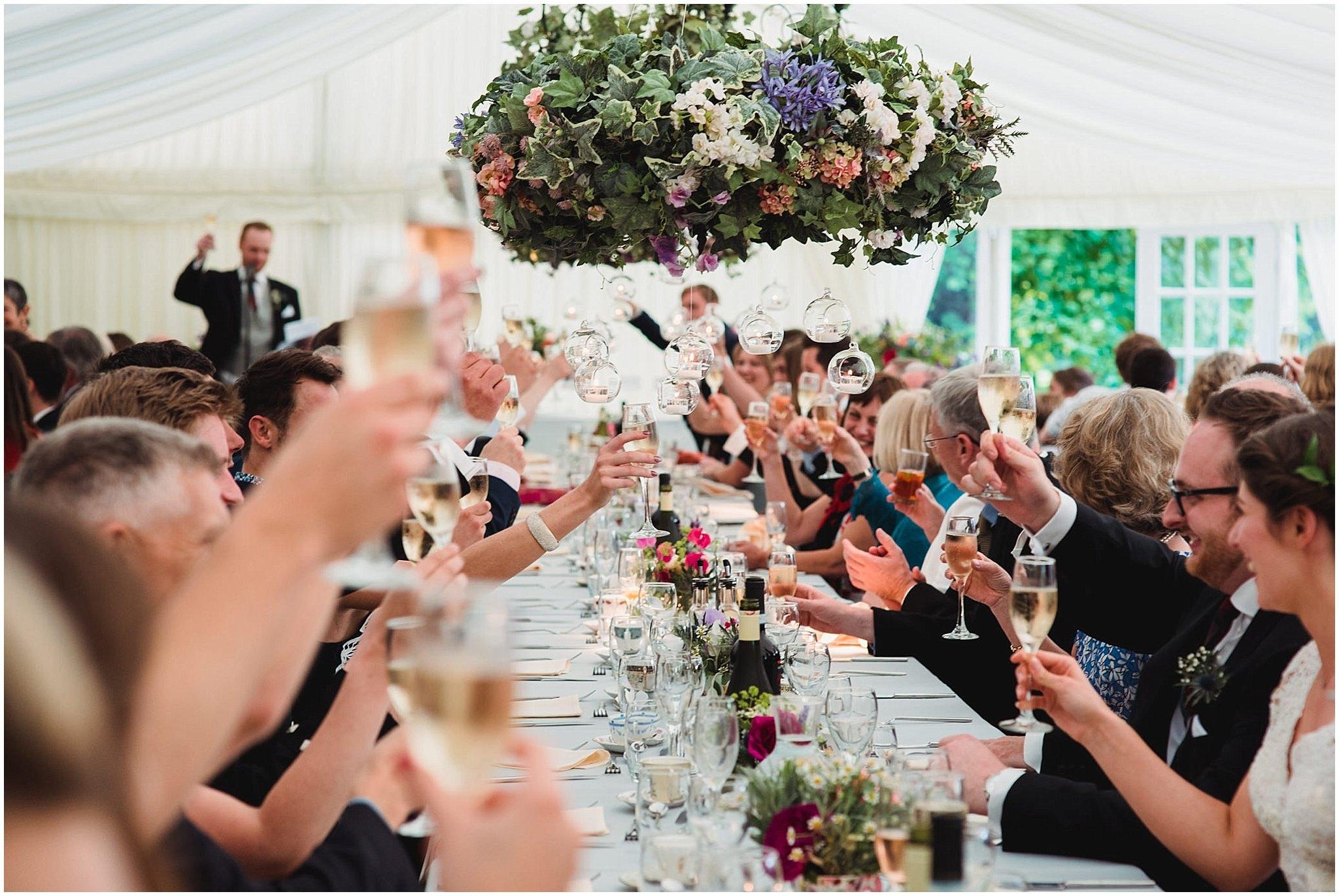 Wedding marquee floral hanging centrepiece