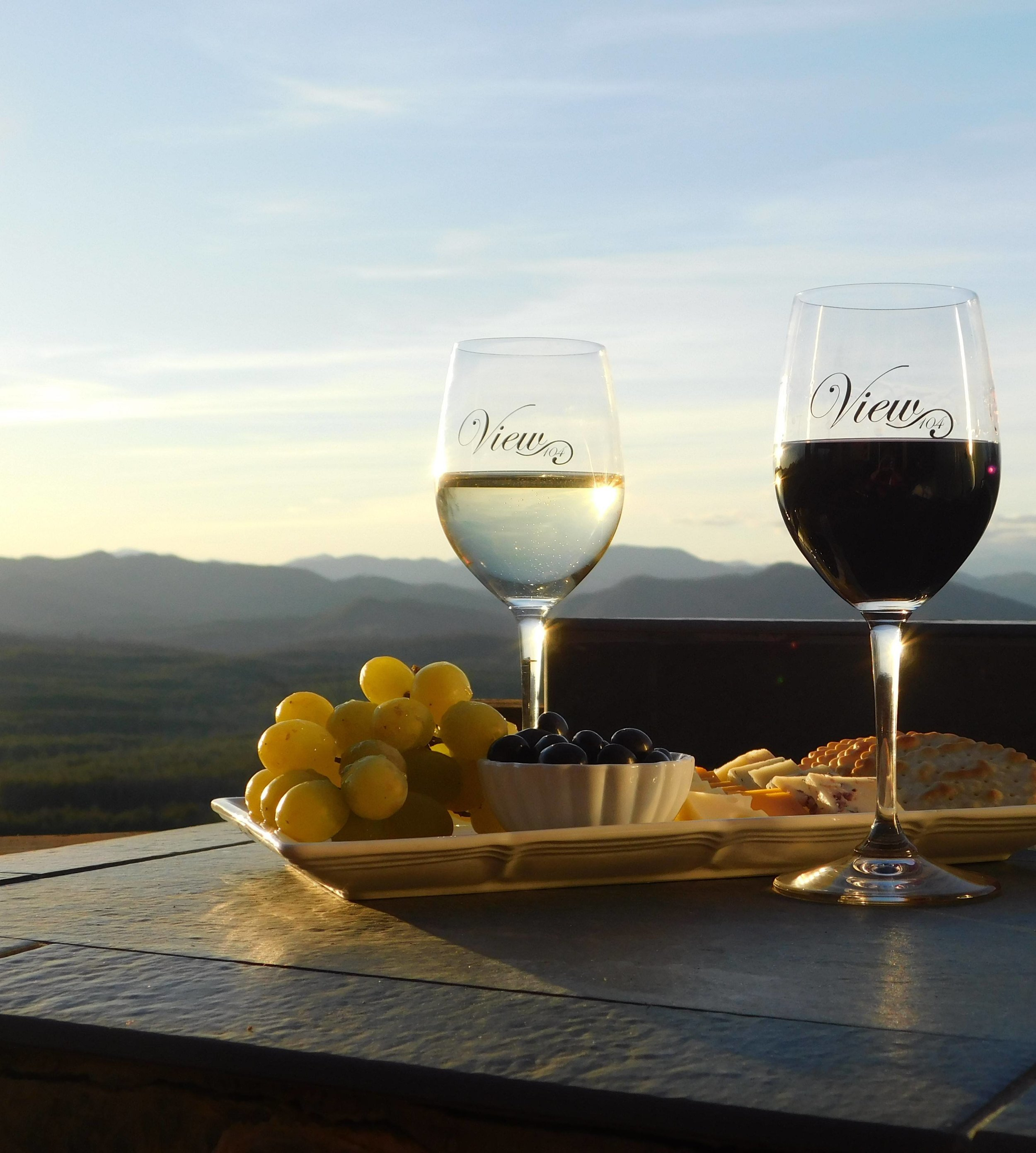 Wine and cheese are served every evening before sunset