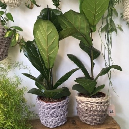 Handmade crochet plant pots