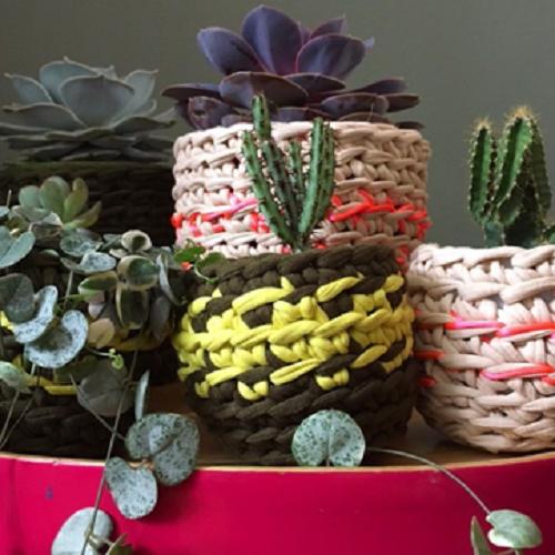 Recycled jersey & lurex crochet plant pots