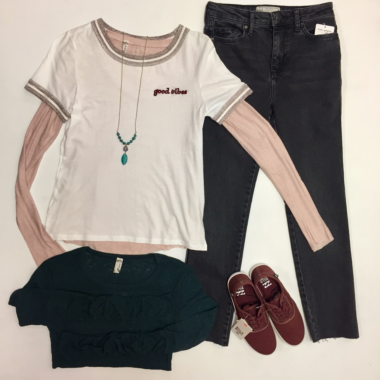 Blush Free People Layering Top $40, Teal Free People Layering Top $40, Good Vibes Tee $34, Free People Denim $78, Necklace $28, Sneakers $39.95