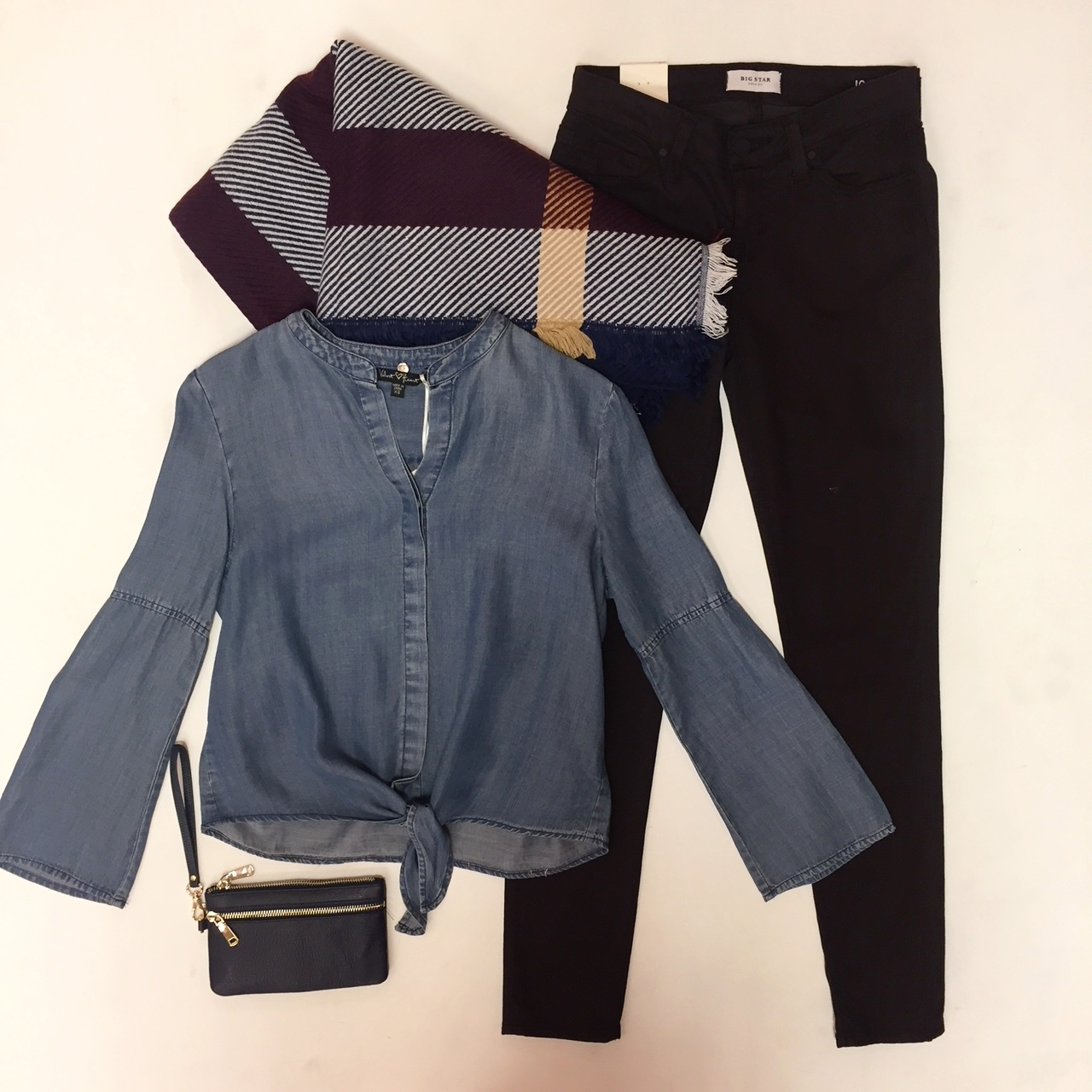 Maroon Jeans $88, Chambray Blouse $79, Wallet $28, Scarf $28