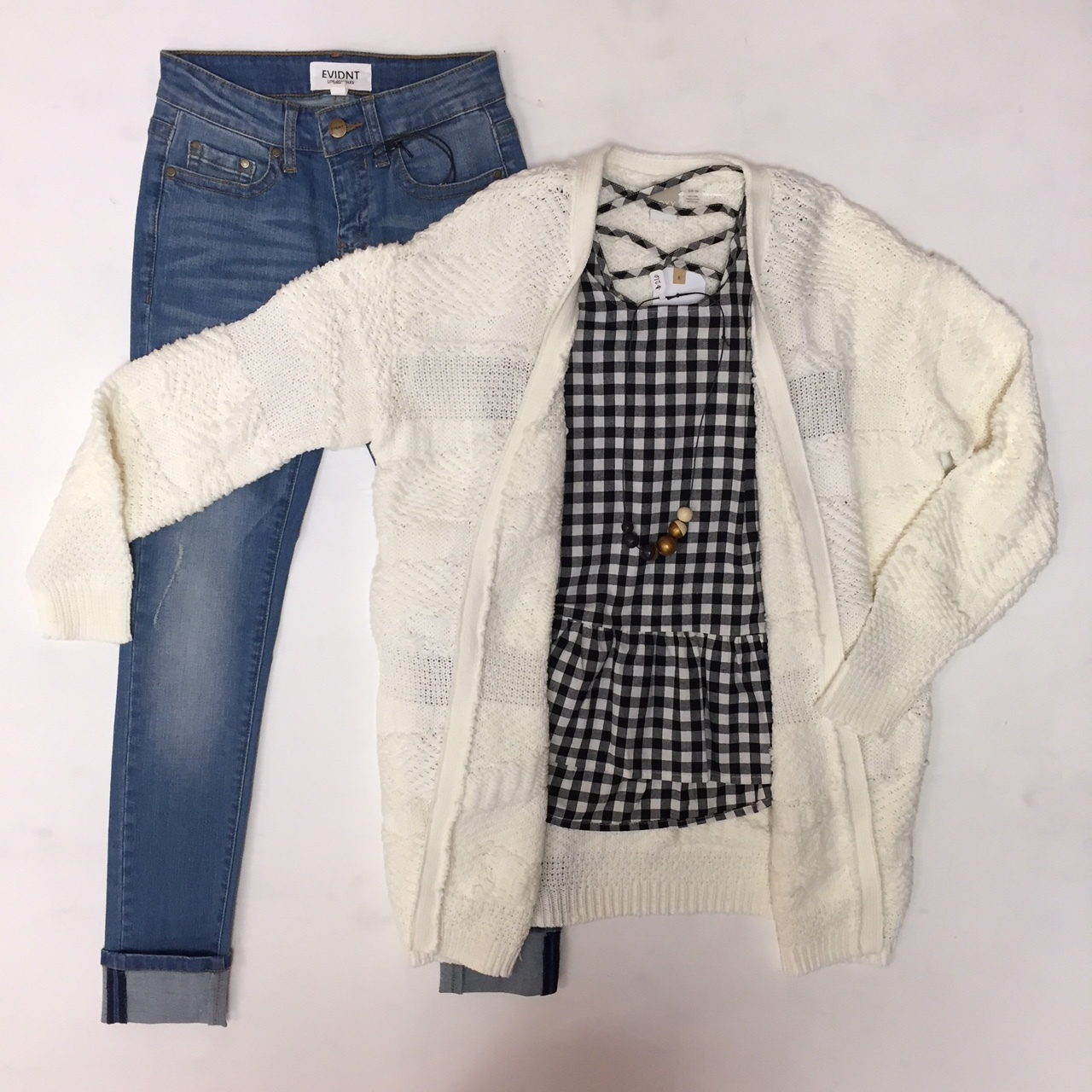 Evident Jeans $62, Gingham Tank Top $52, Roxy Cardigan $80, Belle Accessory $32