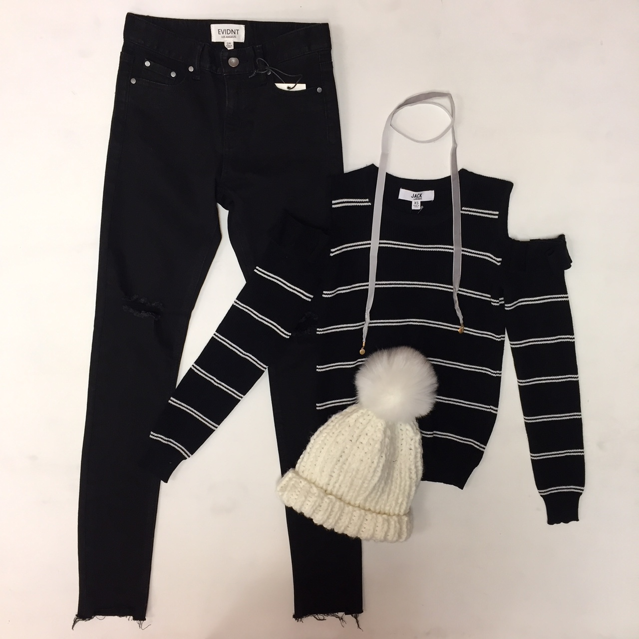 Evident Jeans $62, Cold Shoulder Sweater $70, Free People Hat $48, Choker $12