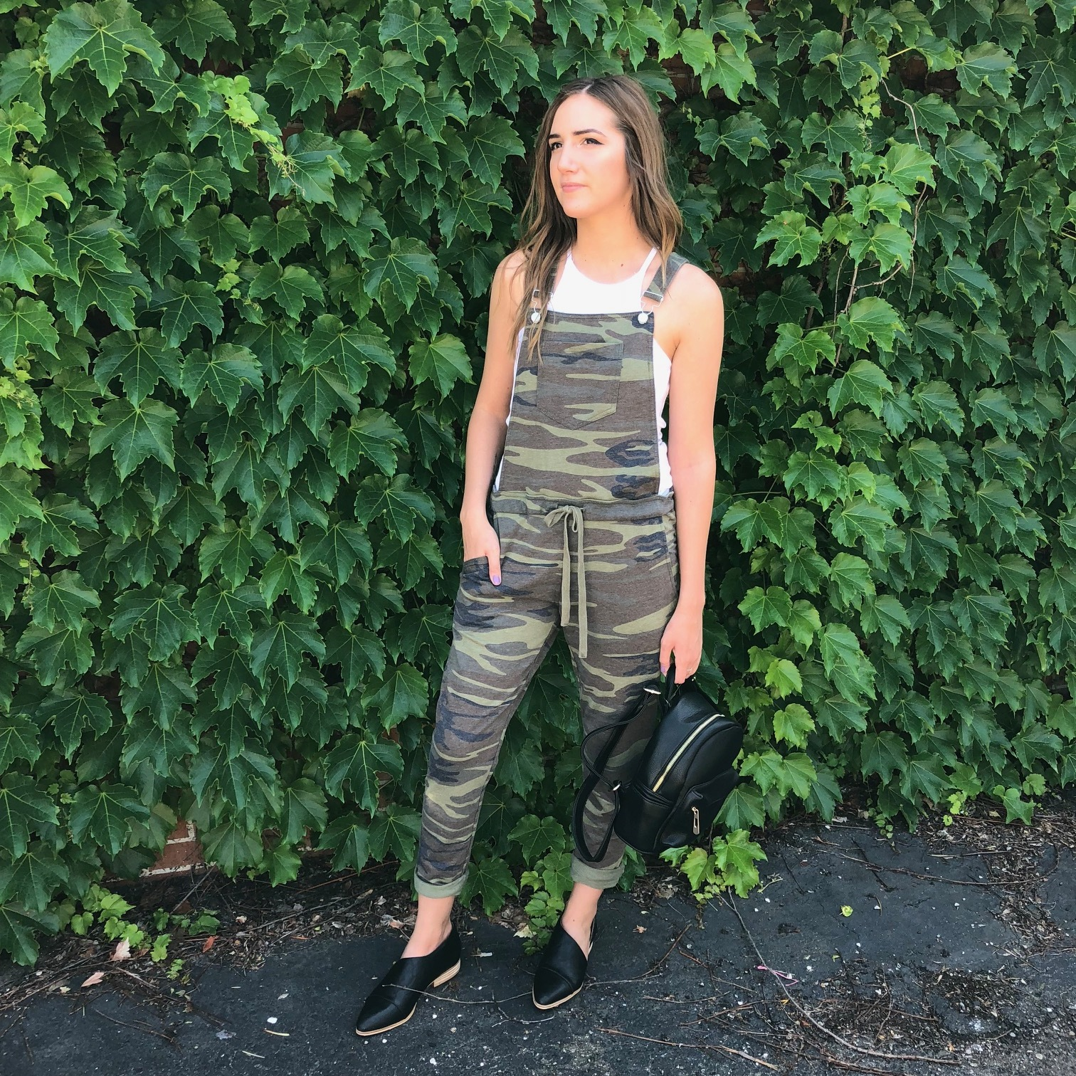 Z Supply Tank Top $24, Z Supply Camo Overalls $62, Backpack $38,  Black Sidecut Loafers