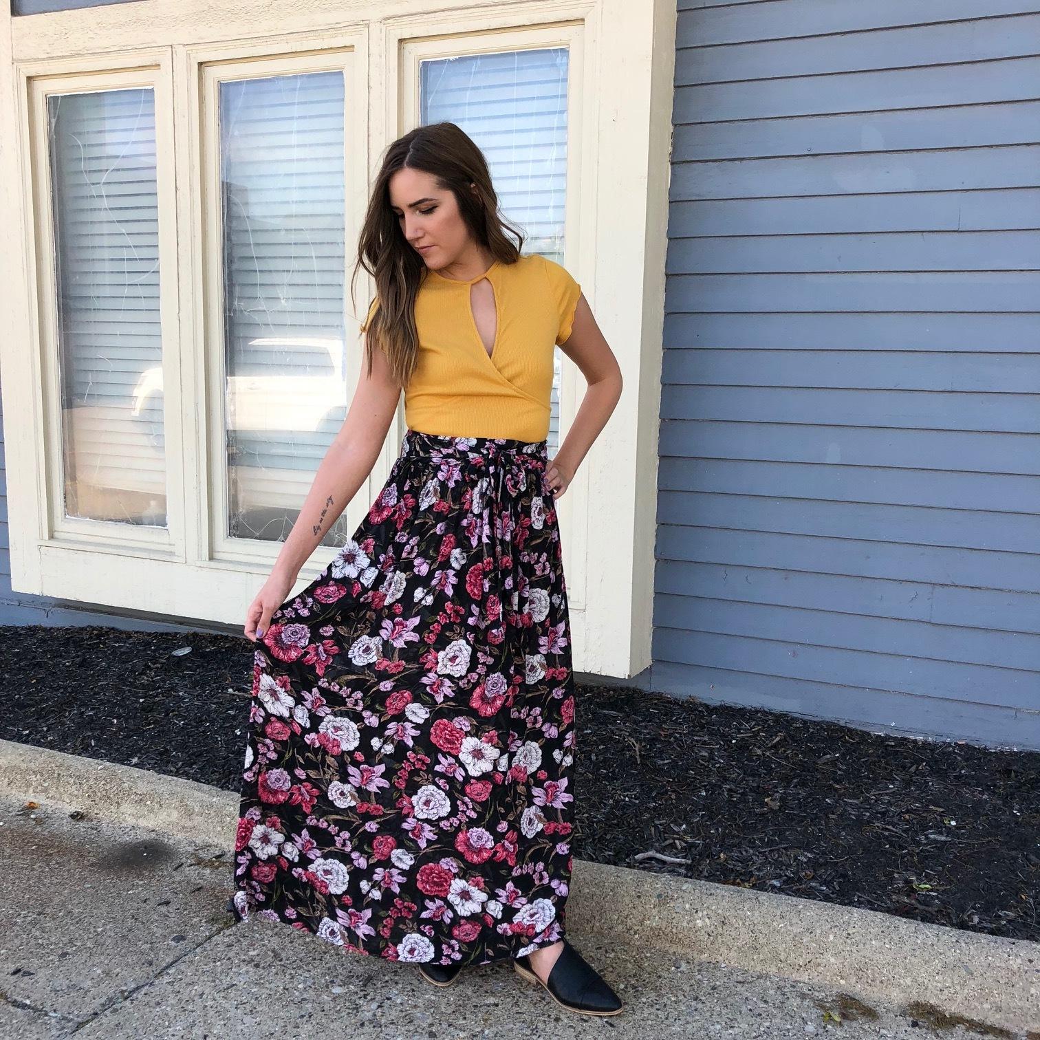 Billabong Floral Maxi Skirt $49.95, She & Sky Yellow Crop Top $32, Black Sidecut Loafers $42
