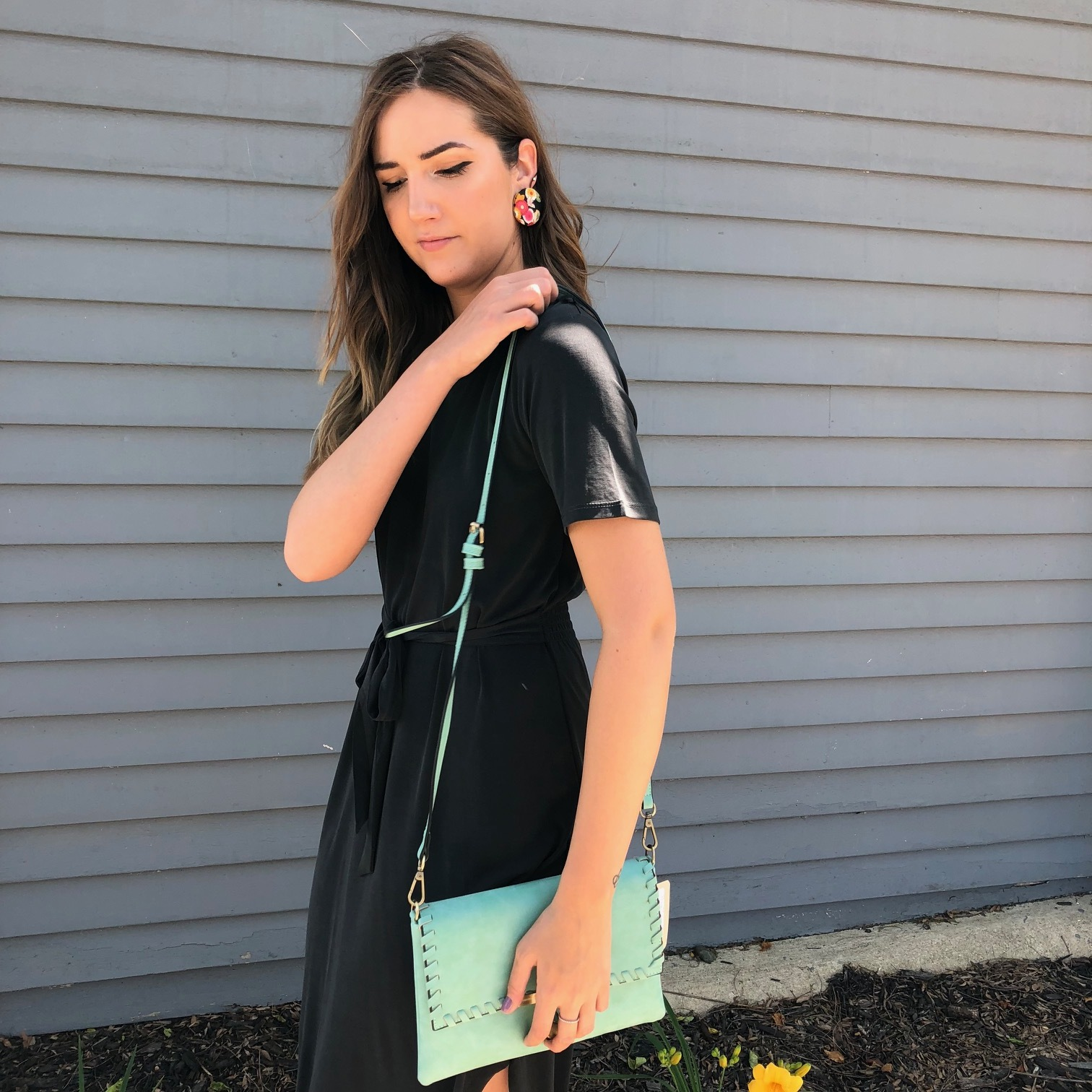 Z Supply Black Tie Dress $55, Floral Earrings $14, Teal Crossbody Purse $38