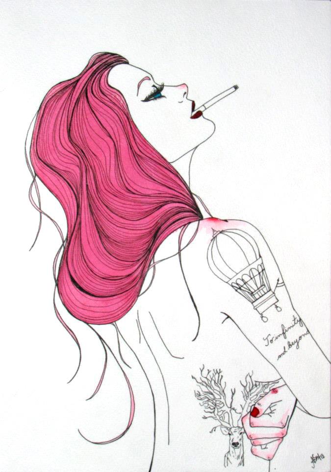 Pink Hair Cigarrete