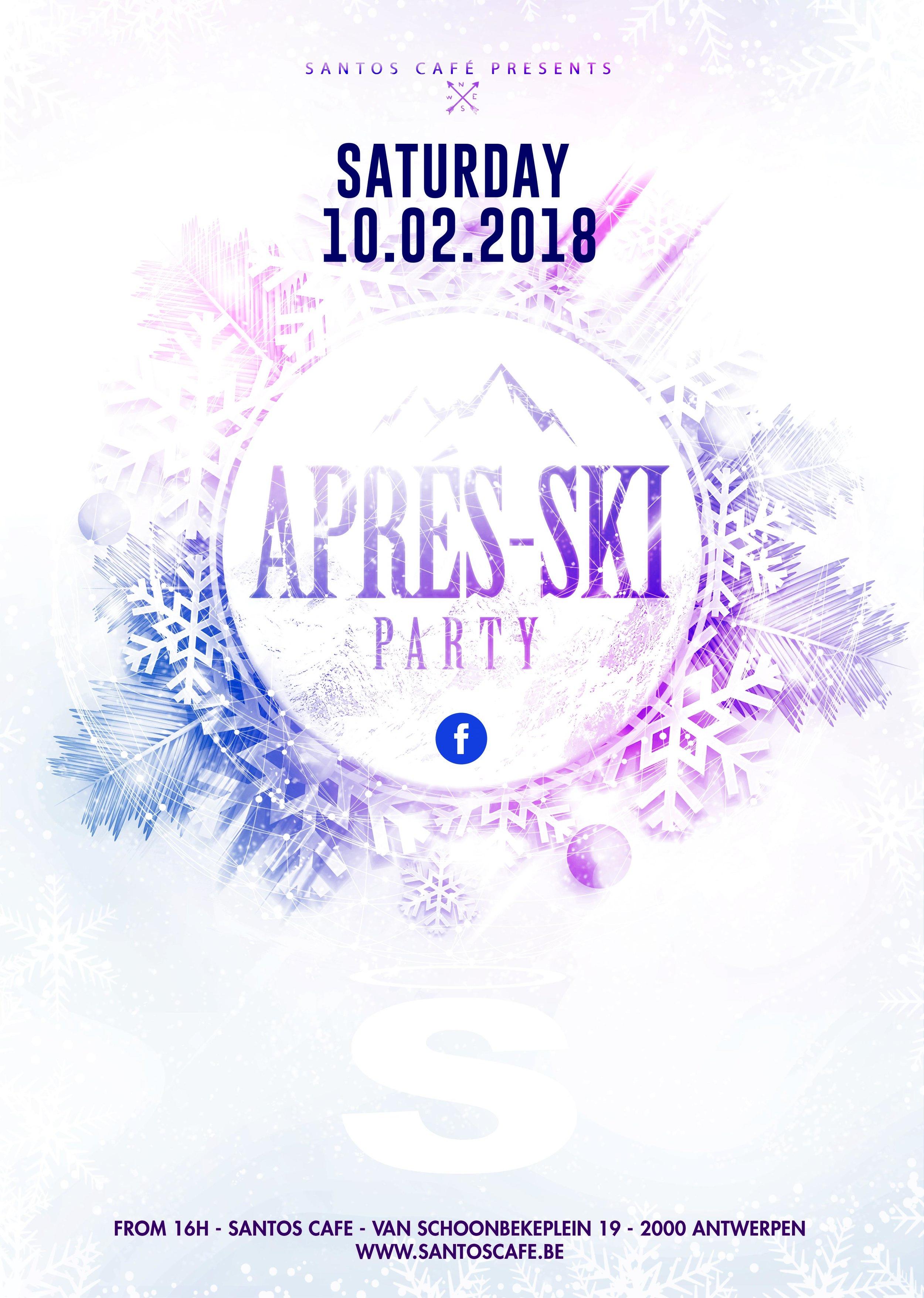 Apres Ski - Elk jaar in februari vieren we bij Santos een rasechte Après-ski party! Geen tijd gehad om de latten aan te binden? No worries wij zorgen er met veel plezier voor dat je een heerelijke après-ski beleeft zonder het risico te lopen je benen te breken (tijdens het skiën).