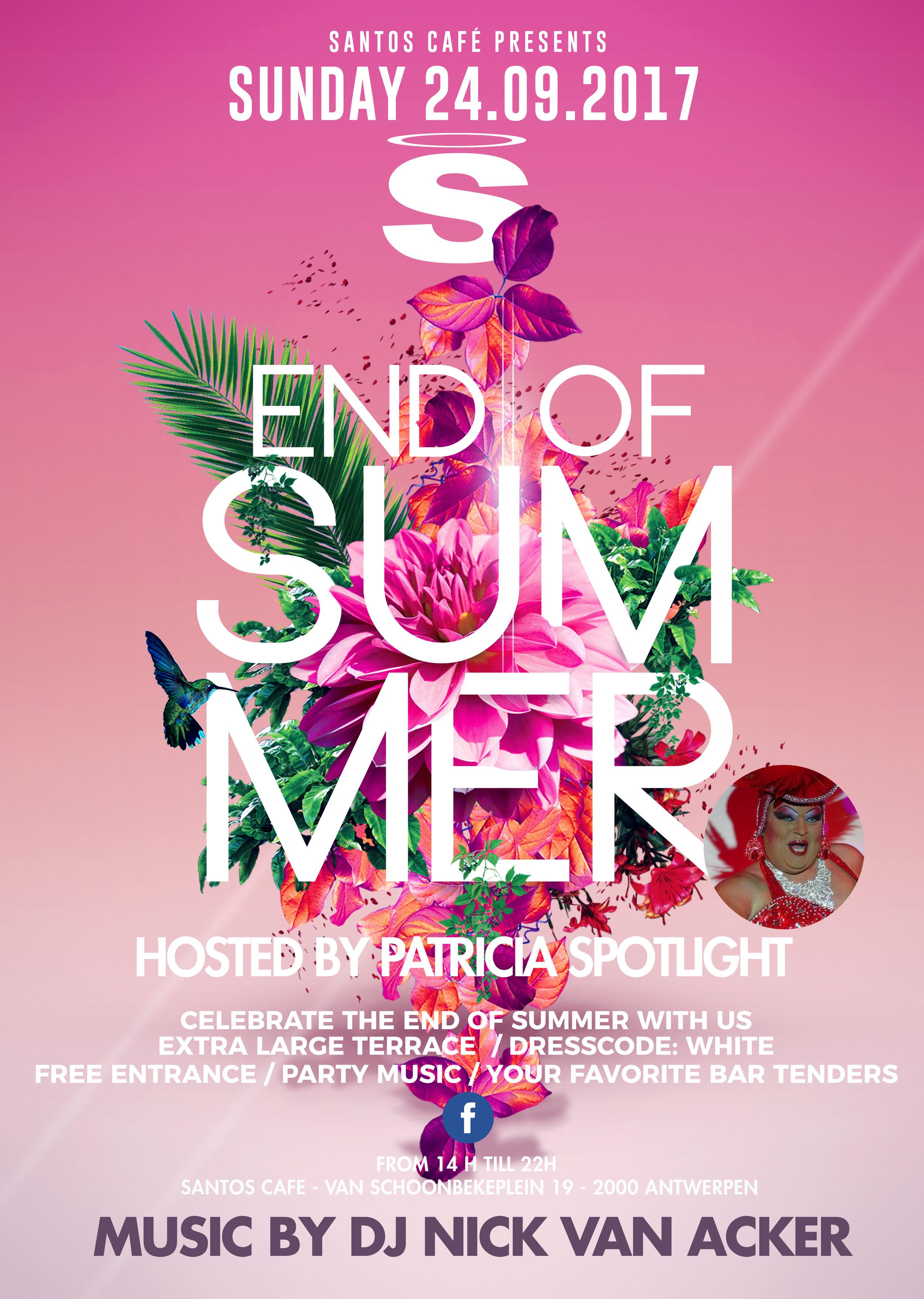 End of Summer - Een zomer, hij vliegt vaak voorbij je het weet. Geen nood, bij Santos Café weten we perfect je zomer in stijl af te sluiten en je helemaal warm te maken voor de herfst. Op het einde van september, verwelkomen je graag op ons End Of Summer Event.