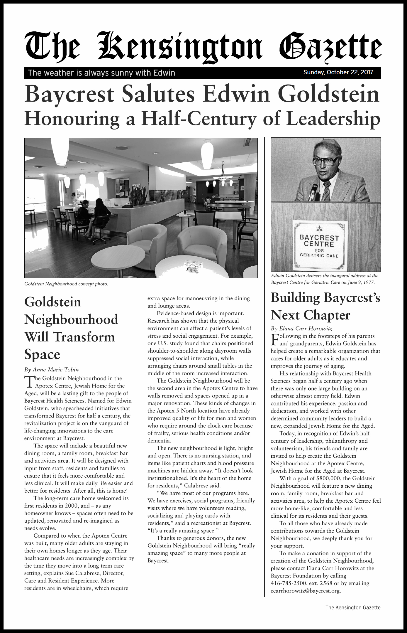 """Baycrest Salutes Edwin Goldstein"", custom Newsletter (12 pages)"