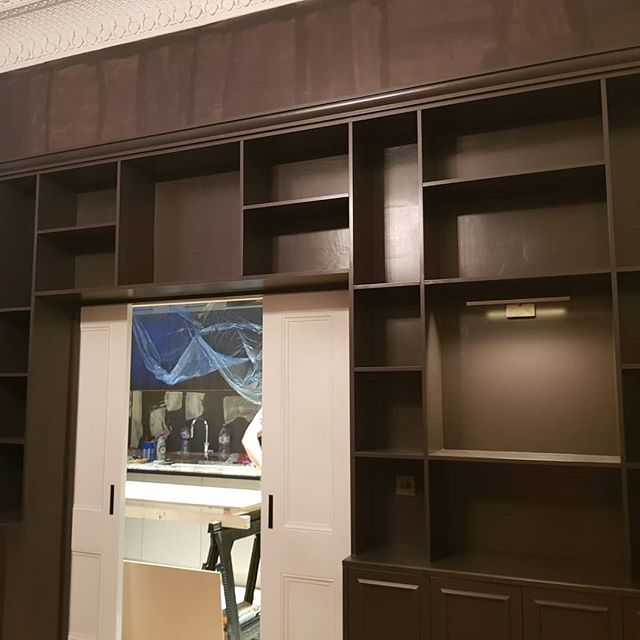 Couple of photos of bespoke cabinets , custom built in mdf then finished in a spray finish on every coat finished in a flat satin.  #sprayfinish  #spraying  #decorator  #bespoke #highquality